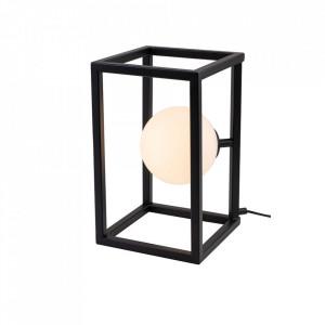 Veioza neagra/alba din metal si sticla 33 cm Cube Lamp Black Aldex