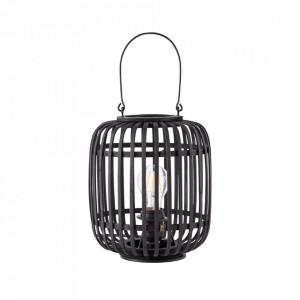 Veioza neagra din lemn si metal 26 cm Woodrow Brilliant