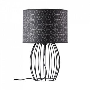 Veioza neagra din textil si metal 37 cm Galance Brilliant