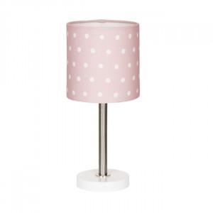 Veioza roz din textil si inox 35 cm Dots Livone