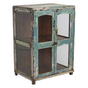 Vitrina verde/albastra din lemn si sticla 92 cm Folp Raw Materials