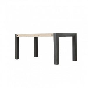 Masa dining maro/neagra din lemn de salcam si metal 90x160 cm Boston Somcasa