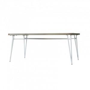 Masa dining alba/maro din lemn de salcam si metal 100x180 cm Nice Somcasa