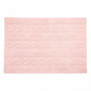 Covor dreptunghiular roz din bumbac 80x120 cm Braids Soft PinkSmall Lorena Canals