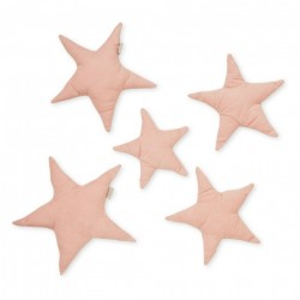 Set 5 decoratiuni roz din bumbac organic pentru perete Stars Blossom Pink Cam Cam