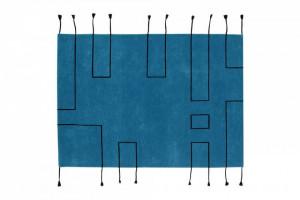 Covor dreptunghiular albastru din lana si bumbac 170x240 cm Nordic Lines Petroleum Lorena Canals