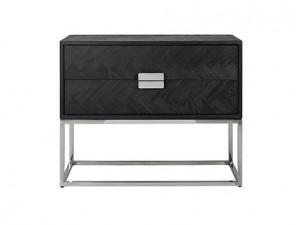 Comoda neagra/argintie din lemn si inox 108 cm Blackbone Richmond Interiors