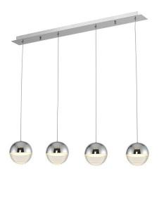 Lustra argintie din metal si plastic cu 4 LED- uri Doris Zuma Line