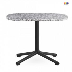 Masa neagra/gri din aluminiu si granit 48,5x60 cm pentru cafea Era Black Alu Normann Copenhagen