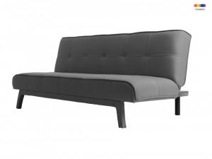 Canapea extensibila gri din poliester si lemn pentru 2 persoane Modes Carbon Custom Form