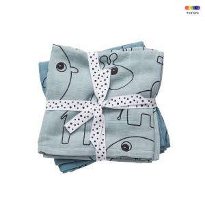 Set 2 scutece albastre din bumbac pentru bebelusi 70x70 cm Blue Done by Deer