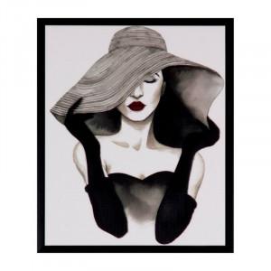 Tablou alb/negru din MDF si polistiren 25x30 cm Woman Somcasa
