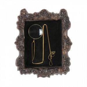 Decoratiune maro/neagra din lemn de mango pentru perete 17x20 cm Magnifier Be Pure Home