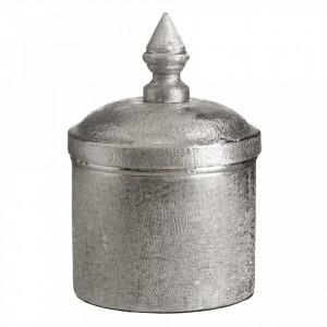 Recipient argintiu din aluminiu cu capac 11,5x17,5 cm Camina S Ixia