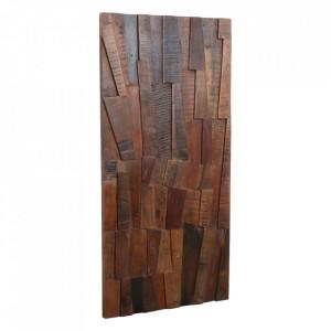 Decoratiune maro din lemn reciclat pentru perete 66x122 cm Gorbop Raw Materials
