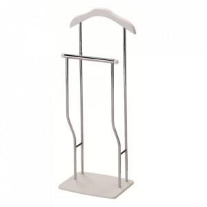 Suport alb din lemn si metal pentru umerase 107 cm Greg Signal Meble