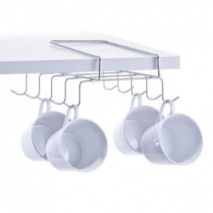 Suport argintiu din metal pentru cani Shelf Cup Holder Zeller