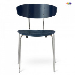 Scaun dining argintiu/albastru inchis din lemn si metal Herman Dark Blue Chrome Ferm Living