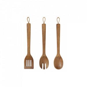 Set 3 ustensile maro din lemn si piele pentru bucatarie Acacia Kitchen Nordal