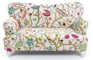 Canapea multicolora din poliester si lemn pentru 2 persoane Botanical Diva White Seletti