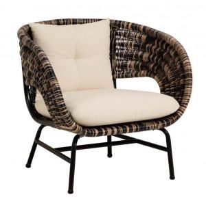 Scaun lounge maro/negru din ratan Lin La Forma