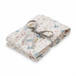 Muselina multicolora din bumbac Swaddle Pressed Leaves Rose Cam Cam