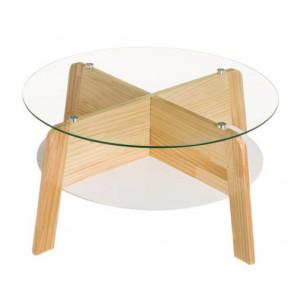 Masuta din sticla si lemn 70 cm Rogers Round Unimasa