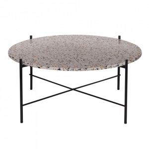 Masuta gri/neagra din terrazzo si metal 83 cm Vayen Woood