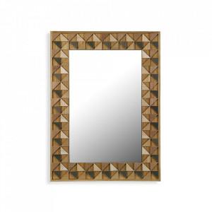 Oglinda dreptunghiulara maro din lemn pentru perete 54x74 cm Elva Versa Home