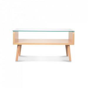 Masa transparenta/maro din sticla si lemn pentru cafea 43x80 cm Eleonor Opjet Paris