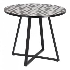 Masa dining alba/maro din ceramica si otel pentru exterior 90 cm Tella La Forma
