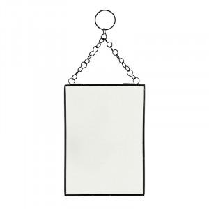 Oglinda dreptunghiulara neagra din fier 13x18 cm Keri Mini Madam Stoltz