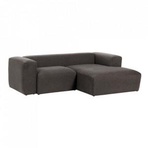Canapea gri din fibre acrilice si lemn de pin cu colt pentru 2 persoane Blok Right La Forma