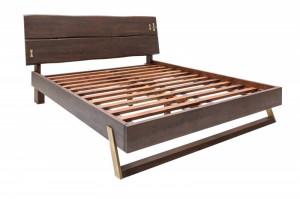 Pat maro inchis din lemn si metal 205x218 cm Mammoth Bed Invicta Interior