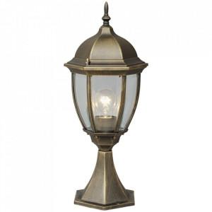 Stalp de iluminat negru/auriu din metal si sticla pentru exterior 50 cm Fabur MW Glasberg