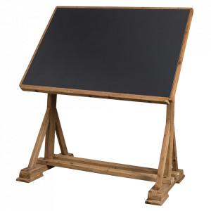 Birou negru/maro din lemn de brad si fier 81,5x125 cm Stilo Dutchbone