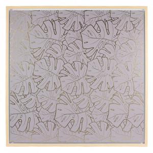 Tablou gri din MDF 104x104 cm Grey Leaves Santiago Pons