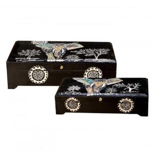 Set 2 cutii cu capac multicolore din lemn pentru bijuterii Rios Giner y Colomer