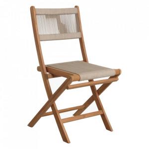 Scaun dining crem/maro din lemn de tec si sfoara pentru exterior Vivalto Raw Materials