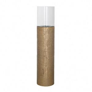 Suport auriu din aluminiu si sticla pentru lumanare 93 cm Barlow Richmond Interiors