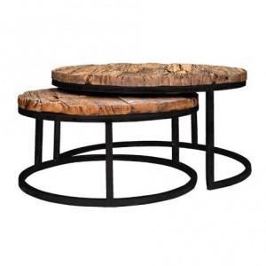 Set 2 masute maro/negre din lemn si otel pentru cafea Industrial Kensington Richmond Interiors