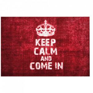 Pres dreptunghiular rosu din poliamida pentru intrare 50x70 cm Keep Calm Lako