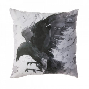 Perna decorativa patrata alba/neagra din poliester 45x45 cm Raven Be Pure Home