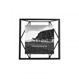 Rama foto neagra/transparenta din metal si sticla pentru perete 16x16 cm Nuri LifeStyle Home Collection