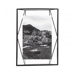 Rama foto neagra/transparenta din metal si sticla pentru perete 25x35 cm Nuri LifeStyle Home Collection