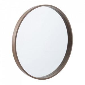 Oglinda rotunda maro din lemn de paulownia 60 cm Matilda Ixia