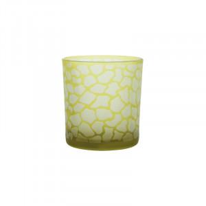 Suport galben din sticla pentru lumanare 8 cm Jafari Lifestyle Home Collection