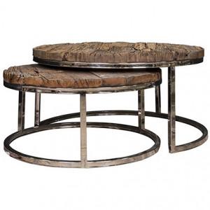 Set 2 masute maro/argintii din lemn si inox pentru cafea Kensington Richmond Interiors