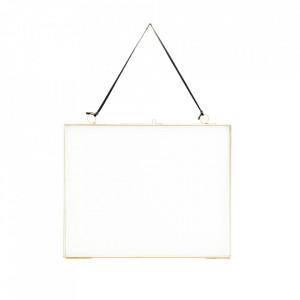 Oglinda dreptunghiulara aurie din fier si sticla 20x25 cm Hahoa Madam Stoltz