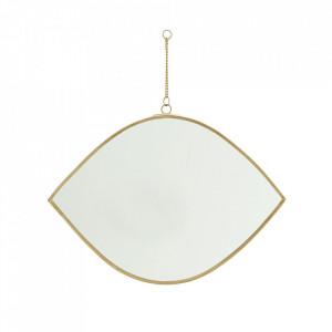 Oglinda ovala aurie din fier si sticla 26 cm Tikis Madam Stoltz